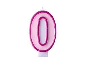Świeczka urodzinowa Cyferka 0, różowa