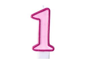 Świeczka urodzinowa Cyferka 1, różowa
