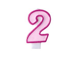 Świeczka urodzinowa Cyferka 2, różowa
