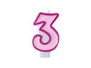 Świeczka urodzinowa Cyferka 3, różowa