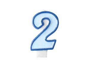 Świeczka urodzinowa Cyferka 2, niebieski
