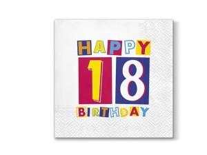 """Serwetki Decor 33x33 """"18 urodziny"""""""