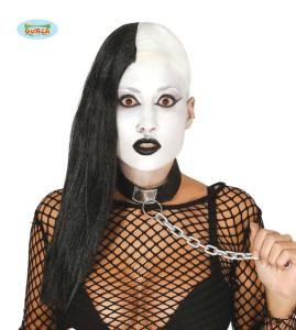 Peruki - Peruka długa czarno-biała