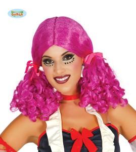 "Peruki - Damska peruka różowa ""Kitki ze wstążkami"" / 4021"