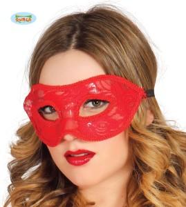 Maski Weneckie - Maska karnawałowa Wenecka czerwona koronkowa / 12702