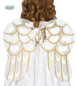 Skrzydła Anioła. 56x48 cm. Białe ze złotymi wykończeniami