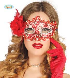 Maski Weneckie - Maska karnawałowa Wenecka czerowna z różą / 12709