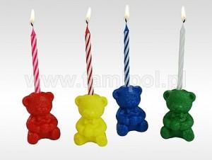 Misie, zestaw 4 świeczek +4 dekoracje