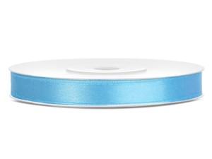 Tasiemki satynowe 6 mm - Tasiemka satynowa, błękitna / 6 mm