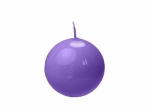 Świeczki kule - Fioletowa świeca kula, lakierowana / 8 cm !PRZECENA!