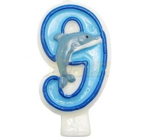 Świeczka cyferka z delfinkiem 10