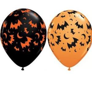 """Balon QL 11""""z nadr.""""Nietoperze:,pastel czarny i pomarańczowy"""