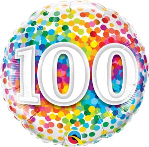 """Balony foliowe na okrągłe urodziny - Balon foliowy 18"""" """"100 Confetti"""""""