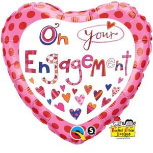 """Balony foliowe kształty z napisami - Balon foliowy 18"""" QL HRT """"On Your Engagement"""""""