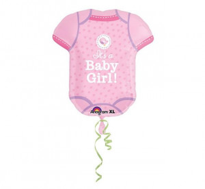 """Balony foliowe kształty z napisami - Balon na Narodziny dziecka foliowy Śpioszki """"It is a Baby Girl"""" / 55x60 cm"""