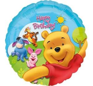 """Balony foliowe z bohaterami bajek - Balon foliowy """"Kubuś Puchatek Happy Birthday"""" / 43 cm"""