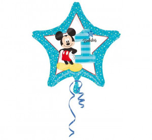 """Balony foliowe z cyframi i liczbami - Balon na Roczek z Myszką Mickey """"1 Birthday"""" / 43 cm"""
