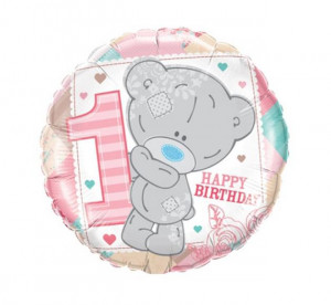 "Balon foliowy 18"" QL CIR ""Tiny Tatty 1ST Teddy Baby Girl"""