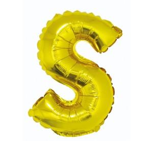 """Balon foliowy """"Litera S"""", złoty, 35cm"""