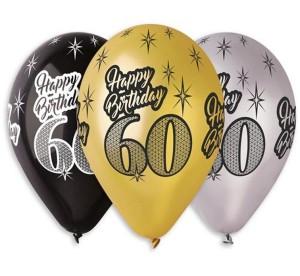 "Balony Premium ""Happy Birthday 60"", metaliczne, 12"""