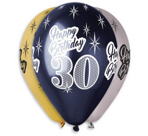 "Balony Premium ""Happy Birthday 30"", metaliczne, 12"""