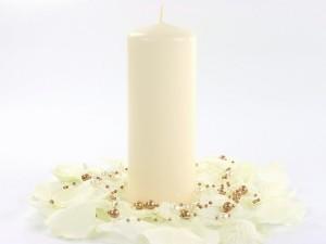 Świeczki walce - Ecru świeca walec, matowa / 15x6 cm