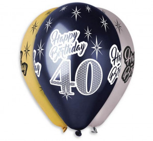 "Balony Premium ""Happy Birthday 40"", metaliczne, 12"""
