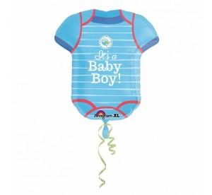 """Balony foliowe kształty z napisami - Balon na Narodziny dziecka foliowy Śpioszki """"It is a Baby Boy"""" / 55x60 cm"""