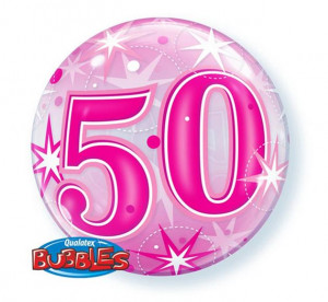 """Balony foliowe na okrągłe urodziny - Balon foliowy Bubble """"Liczba 50"""", 55 cm / 43126"""