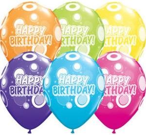 """Balony lateksowe z napisami - Balon urodzinowe QL 11"""" Happy Birthday"""" , pastel mix tropikalny"""