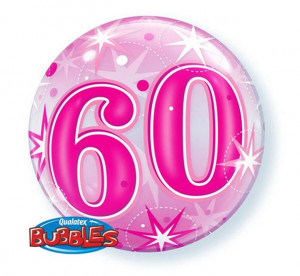 """Balony foliowe na okrągłe urodziny - Balon foliowy Bubble """"Liczba 60"""", 55 cm / 43127"""