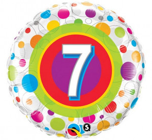 Balony foliowe z cyframi i liczbami - Balon foliowy na 7 urodziny / 41108