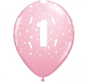 Balony lateksowe cyfry i liczby - Balony urodzinowe na Roczek dziewczynki / 17821