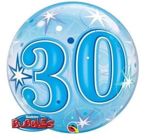 """Balony foliowe na okrągłe urodziny - Balon foliowy Bubble """"Liczba 30"""", 55 cm / 48443"""