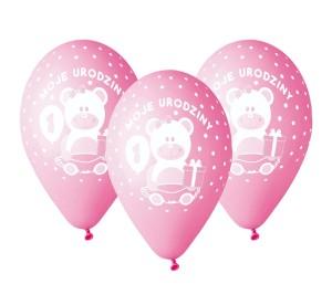 """Balony lateksowe cyfry i liczby - Balony urodzinowe na Roczek dla dziewczynki """"Moje 1 Urodziny"""" / GD-M1UD1"""
