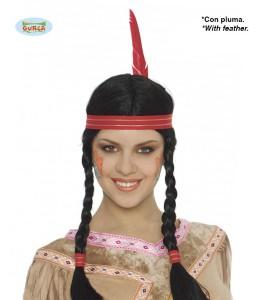Peruka damska długa. Indianka z warkoczami i piórkiem