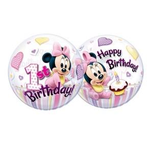 """Balon foliowy 22"""" QL Bubble Poj. Minne Mouse 1 Urodziny ST ASORT"""