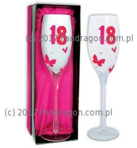 Kieliszki okolicznościowe - Kieliszek do wina na 18 urodziny / Pink