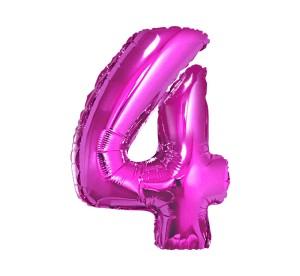 "Balon foliowy 34"" QL ""Number 4"", magenta ST ASORT"
