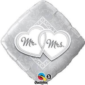 """Balony foliowe kształty z napisami - Balon foliowy 18"""" Mr&Mrs"""