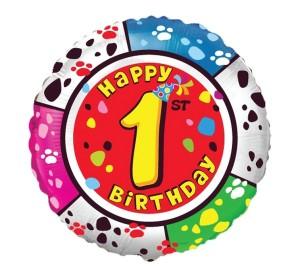 """Balony foliowe z cyframi i liczbami - Balon na Roczek """"1 Happy Birthday"""""""