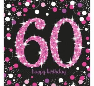 """Serwetki papierowe """"60- sparkling Celebration"""", różowe, 33x33cm"""