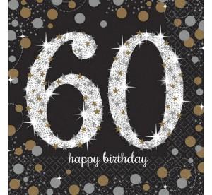 """Serwetki papierowe cyfry i liczby - Serwetki papierowe """"60 urodziny"""" Sparkling Celebration / 33x33cm"""