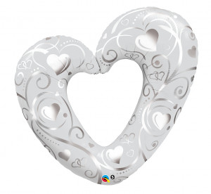 """Balony foliowe o nietypowych kształtach - Balon foliowy 42"""" """"Srebrne serce """""""