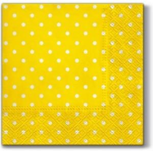 Serwetki Lunch 33x33 Żółte w białe kropki