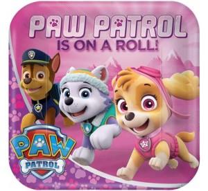 """Talerzyki z bohaterami bajek - Talerzyki papierowe """" Pink Paw Patrol"""", 23cm"""