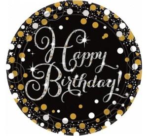 """Talerzyki z napisami - Talerzyki papierowe """"Happy Birthday"""" Sparkling Celebration / 23cm"""