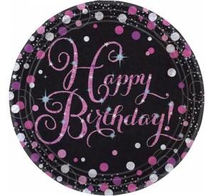 """Talerzyki cyfry i liczby - Talerzyki papierowe """"Happy Birthday"""" Sparkling Celebration, różowe / 23cm"""