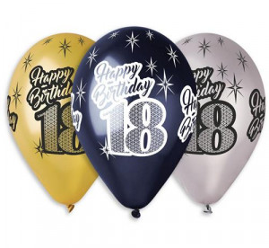 "Balony Premium ""Happy Birthday 18"", metaliczne, 12"""
