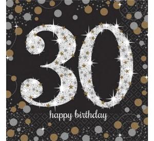 """Serwetki bibułowe cyfry i liczby - Serwetki papierowe """"30 urodziny"""" Sparkling Celebration / 33x33cm"""